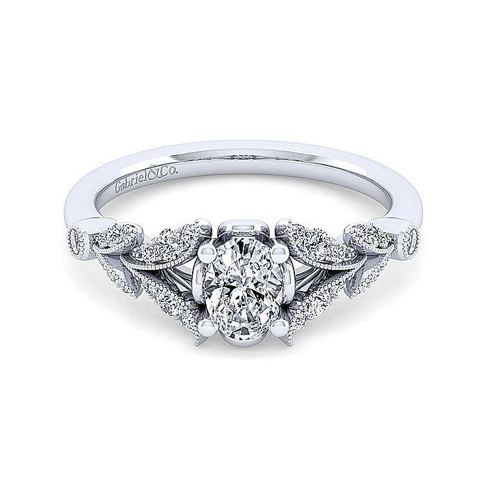 Vintage Inspired 14K White Gold Split Shank Oval Diamond Engagement Ring