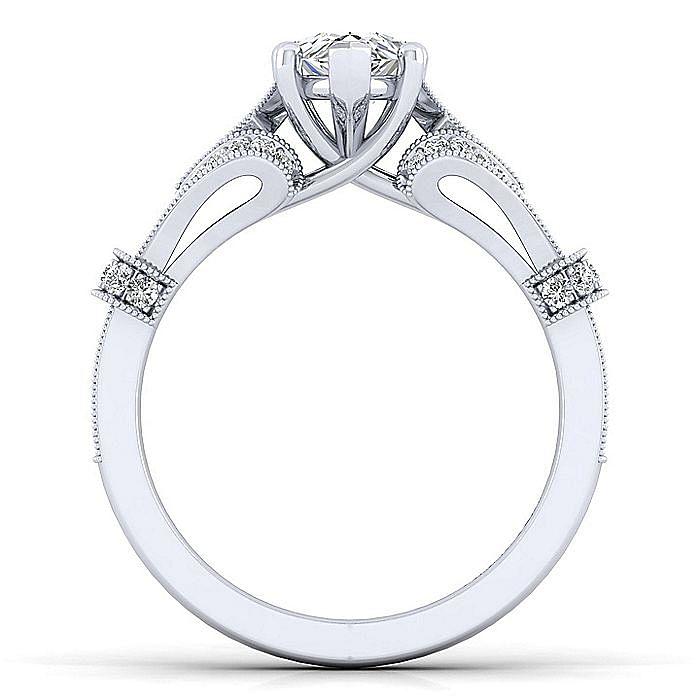Vintage Inspired 14K White Gold Split Shank Pear Shape Diamond Engagement Ring