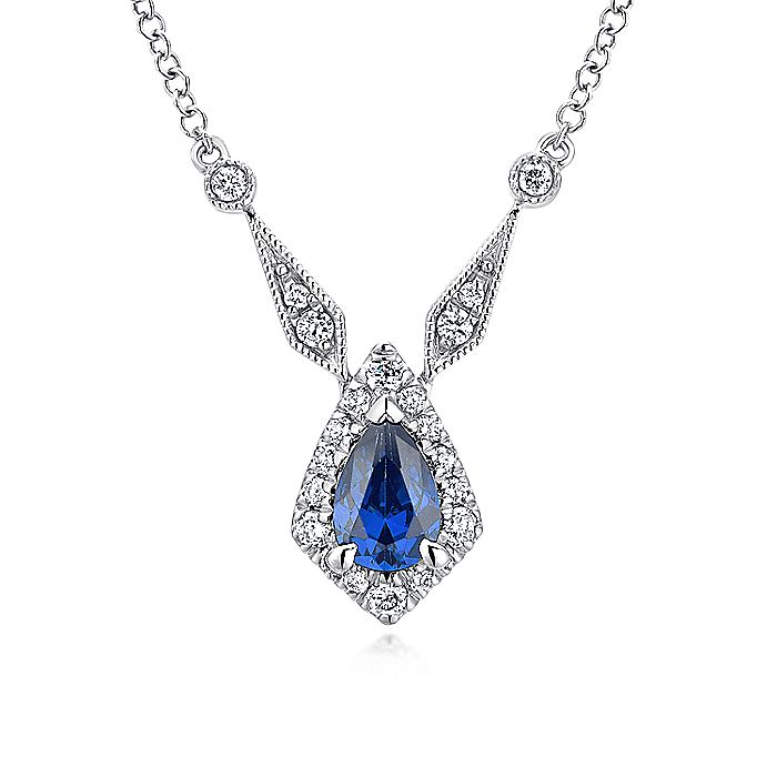 Vintage Inspired 14K White Gold Teardrop Sapphire and Diamond Halo Pendant Necklace