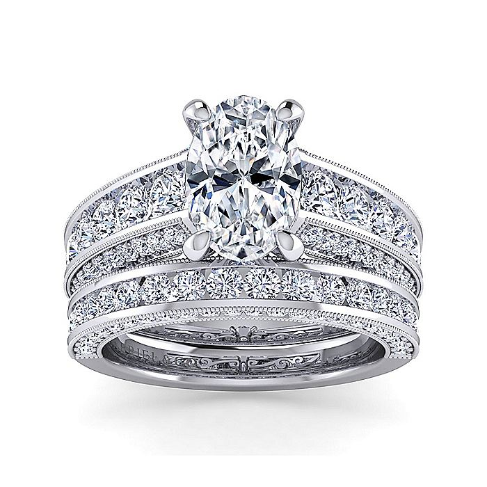 Vintage Inspired 14K White Gold Wide Band Oval Diamond Engagement Ring