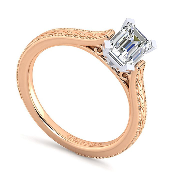 Vintage Inspired 14K White-Rose Gold Emerald Cut Solitaire Engagement Ring