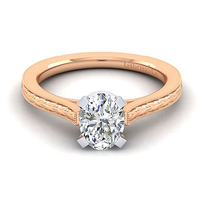 Vintage Inspired 14K White-Rose Gold Oval Solitaire Engagement Ring