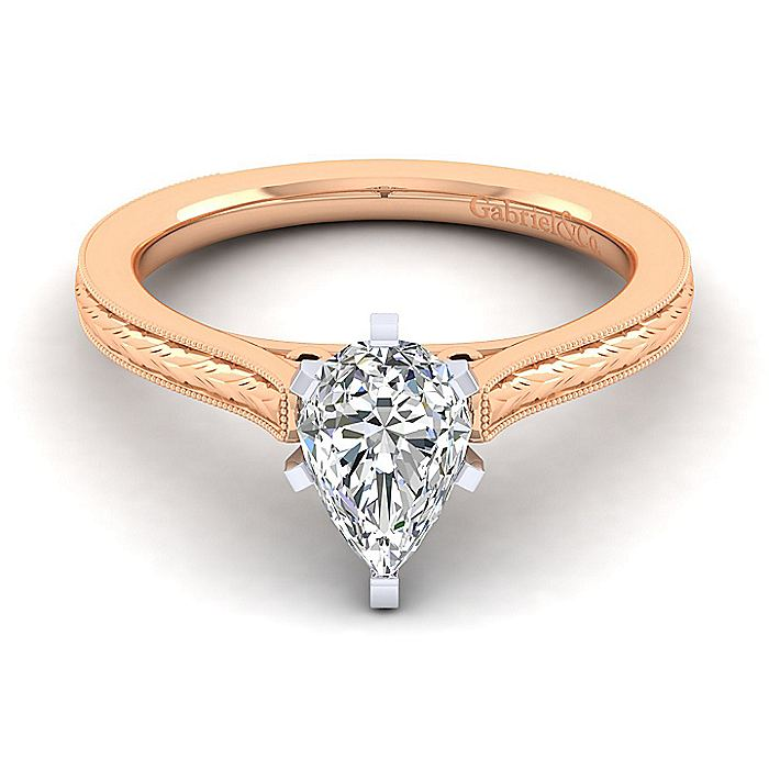 Vintage Inspired 14K White-Rose Gold Pear Shape Solitaire Engagement Ring