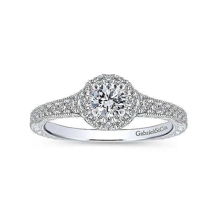 Vintage Inspired 14K White-Rose Gold Round Halo Diamond Engagement Ring