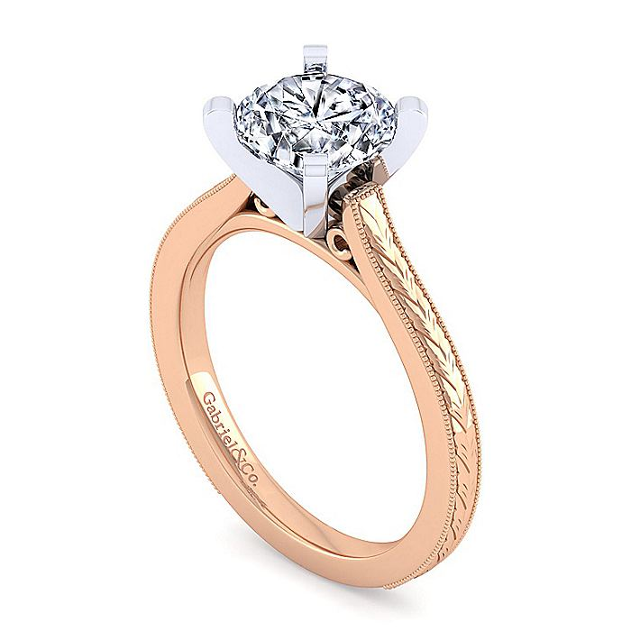 Vintage Inspired 14K White-Rose Gold Round Solitaire Engagement Ring