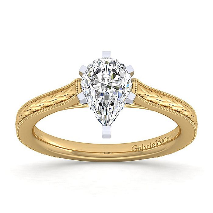 Vintage Inspired 14K White-Yellow Gold Pear Shape Solitaire Engagement Ring
