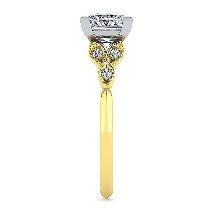 Vintage Inspired 14K White-Yellow Gold Split Shank Princess Cut Diamond Engagement Ring