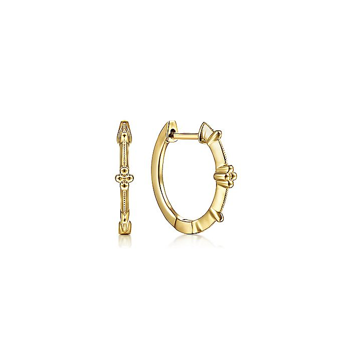 Vintage Inspired 14K Yellow Gold 15mm Beaded Station Huggies