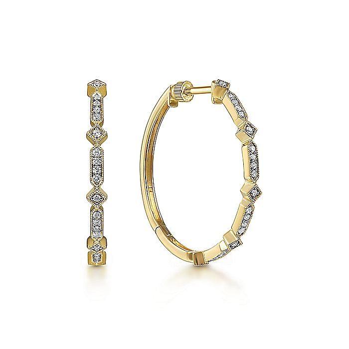 Vintage Inspired 14K Yellow Gold 30mm Classic Diamond Hoop Earrings