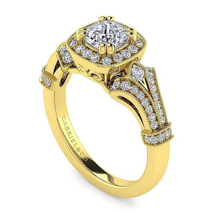 Vintage Inspired 14K Yellow Gold Cushion Halo Diamond Engagement Ring