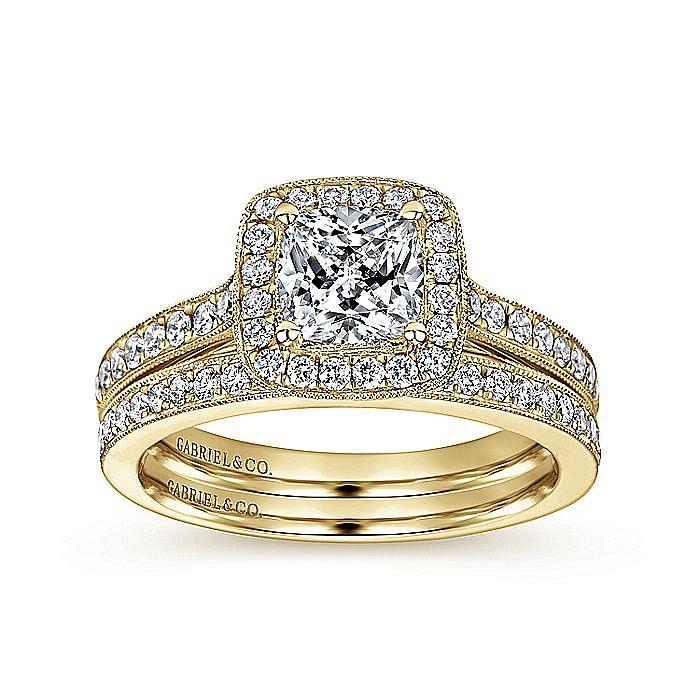 Vintage Inspired 14K Yellow Gold Cushion Halo Diamond Engagement Ring