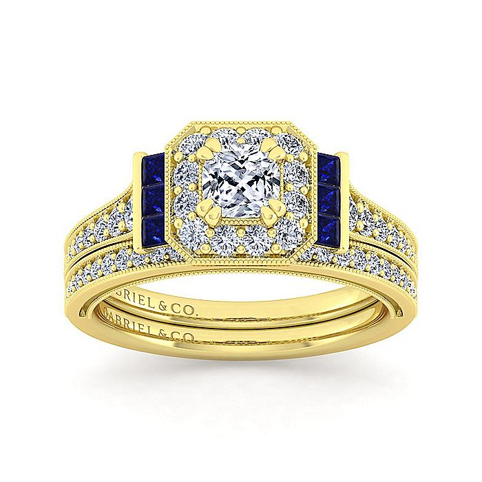 Vintage Inspired 14K Yellow Gold Cushion Halo Sapphire and Diamond Engagement Ring