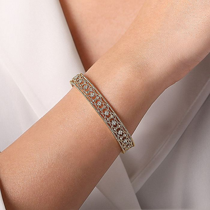 Vintage Inspired 14K Yellow Gold Filigree Diamond Cuff Bracelet