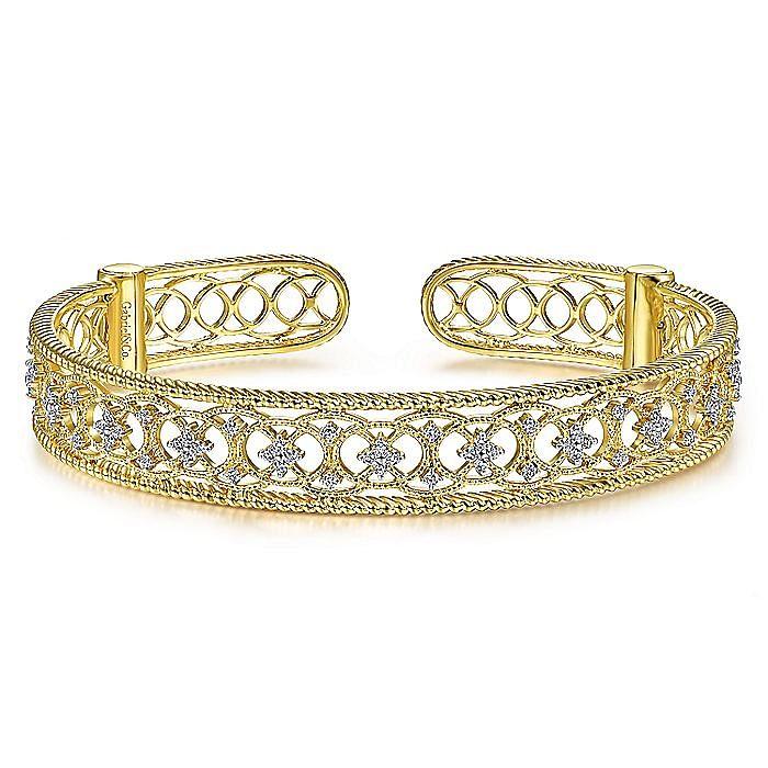 Vintage Inspired 14K Yellow Gold Filigree Diamond Cuff Bracelet