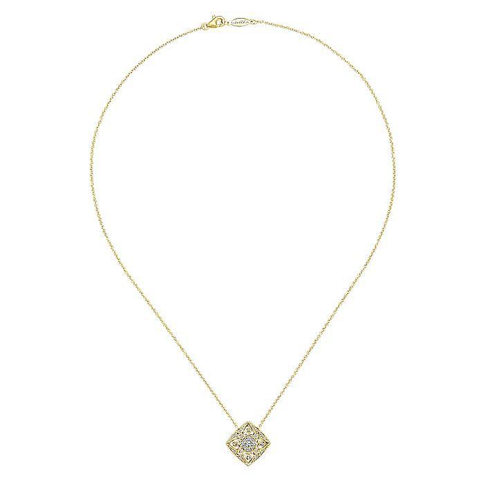 Vintage Inspired 14K Yellow Gold Filigree Diamond Pendant Necklace