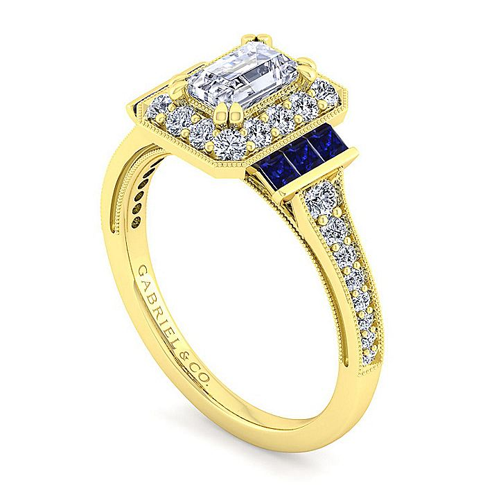 Vintage Inspired 14K Yellow Gold Halo Emerald Cut Sapphire and Diamond Engagement Ring