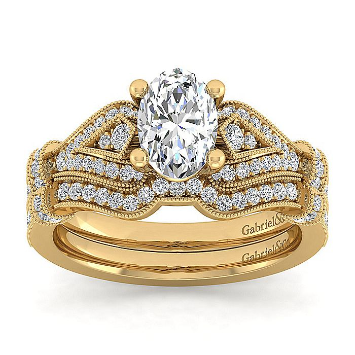 Vintage Inspired 14K Yellow Gold Oval Diamond Engagement Ring
