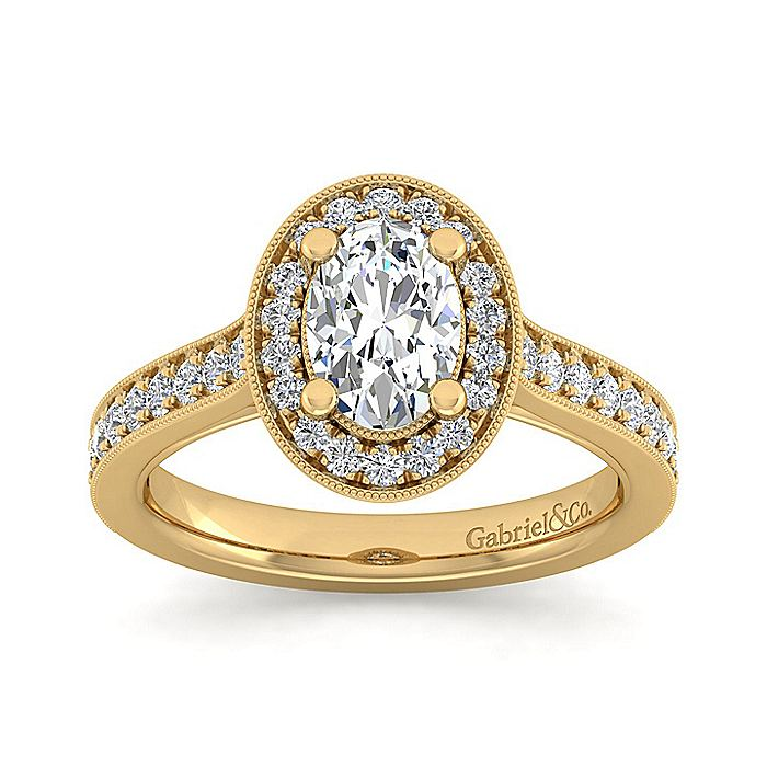 Vintage Inspired 14K Yellow Gold Oval Halo Diamond Engagement Ring