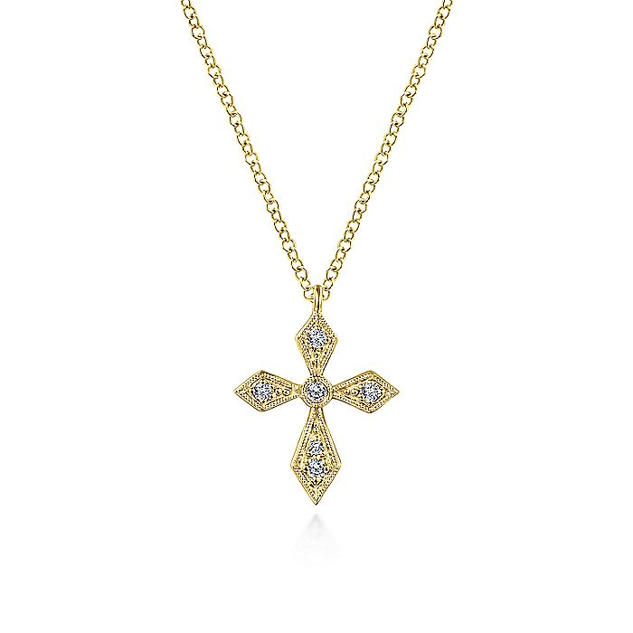 Vintage Inspired 14K Yellow Gold Pointed Diamond Cross Pendant Necklace