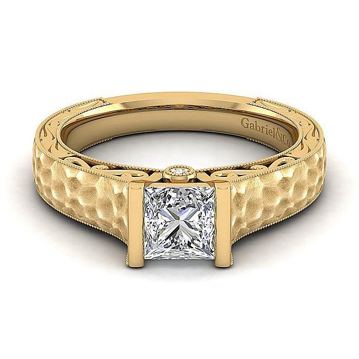 Vintage Inspired 14K Yellow Gold Princess Cut Diamond Engagement Ring