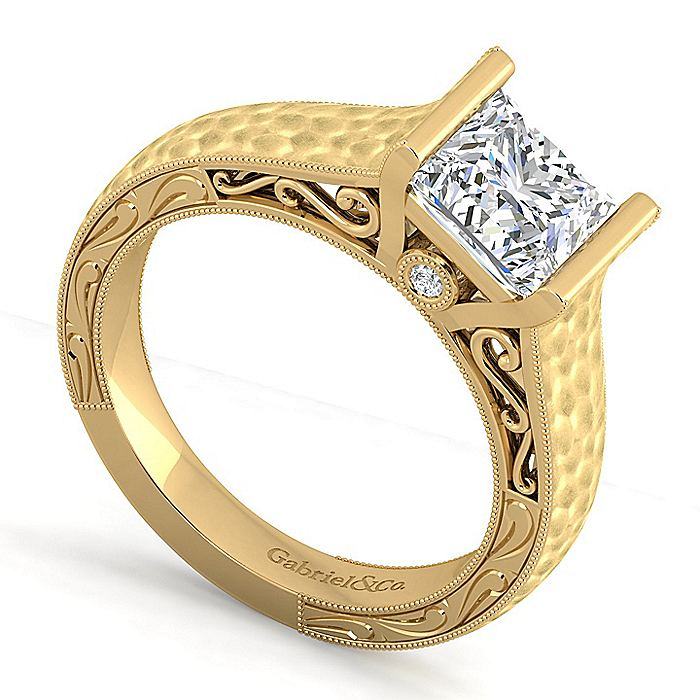 Vintage Inspired 14K Yellow Gold Princess Cut Diamond Engagement Ring