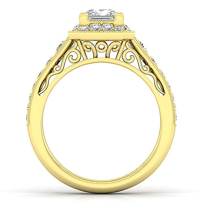 Vintage Inspired 14K Yellow Gold Princess Halo Diamond Engagement Ring