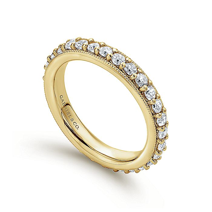 Vintage Inspired 14K Yellow Gold Prong Set Diamond Eternity Band