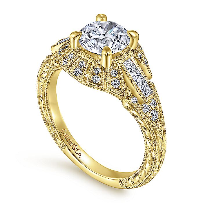 Vintage Inspired 14K Yellow Gold Round Diamond Engagement Ring