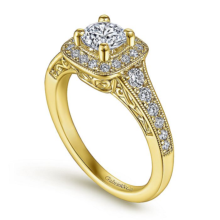 Vintage Inspired 14K Yellow Gold Round Halo Complete Diamond Engagement Ring