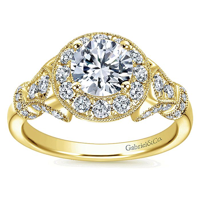 Vintage Inspired 14K Yellow Gold Round Halo Diamond Engagement Ring