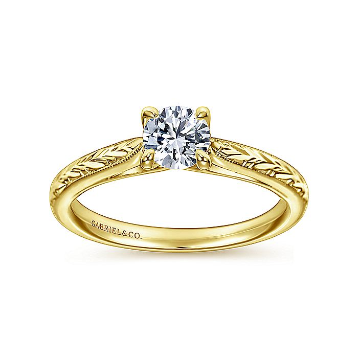 Vintage Inspired 14K Yellow Gold Round Solitaire Engagement Ring