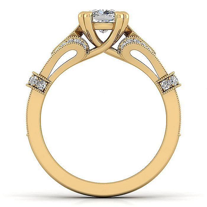 Vintage Inspired 14K Yellow Gold Split Shank Cushion Cut Diamond Engagement Ring
