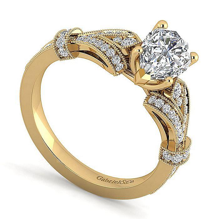 Vintage Inspired 14K Yellow Gold Split Shank Pear Shape Diamond Engagement Ring