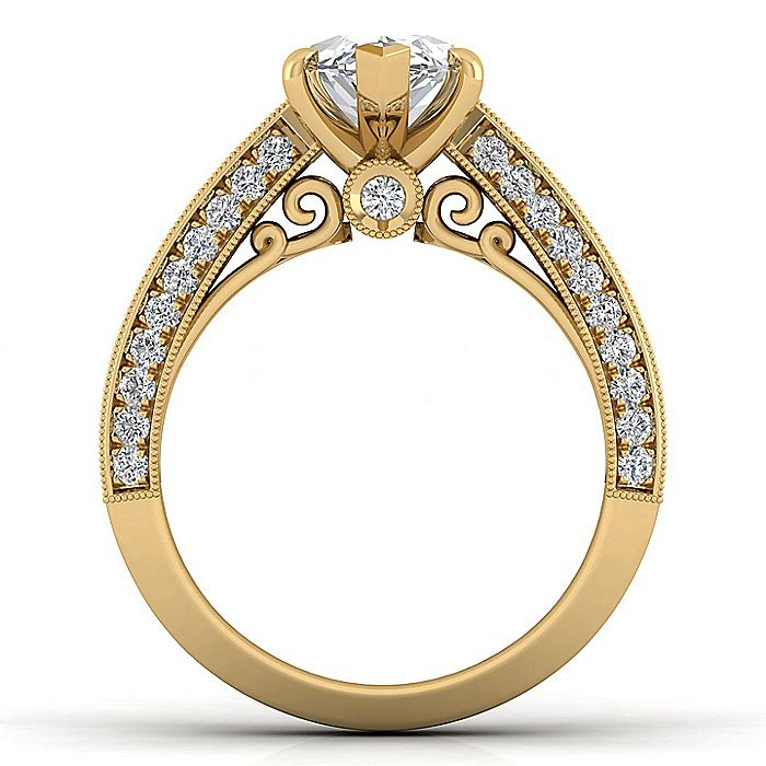 Vintage Inspired 14K Yellow Gold Wide Band Marquise Shape Diamond Engagement Ring