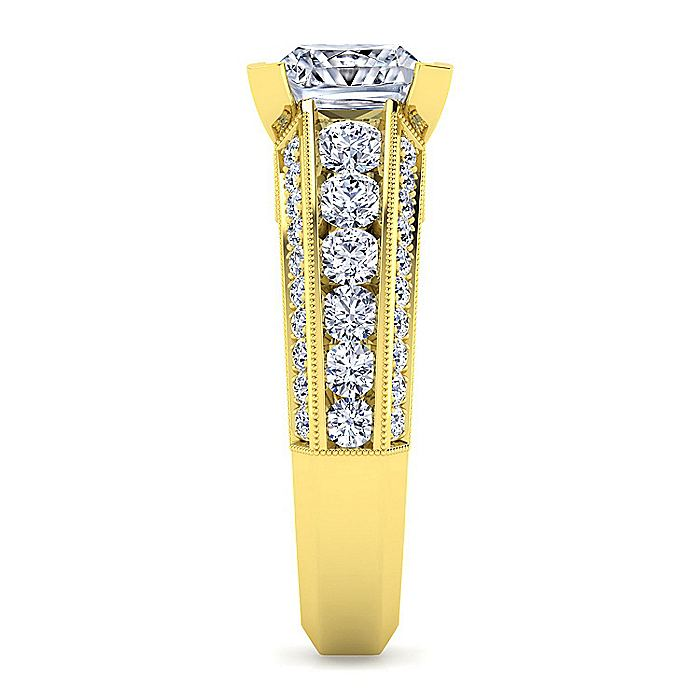 Vintage Inspired 14K Yellow Gold Wide Band Princess Cut Diamond Engagement Ring