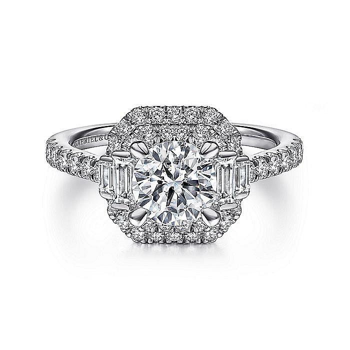 Vintage Inspired 14k White Gold Cushion Double Halo Round Diamond Engagement Ring