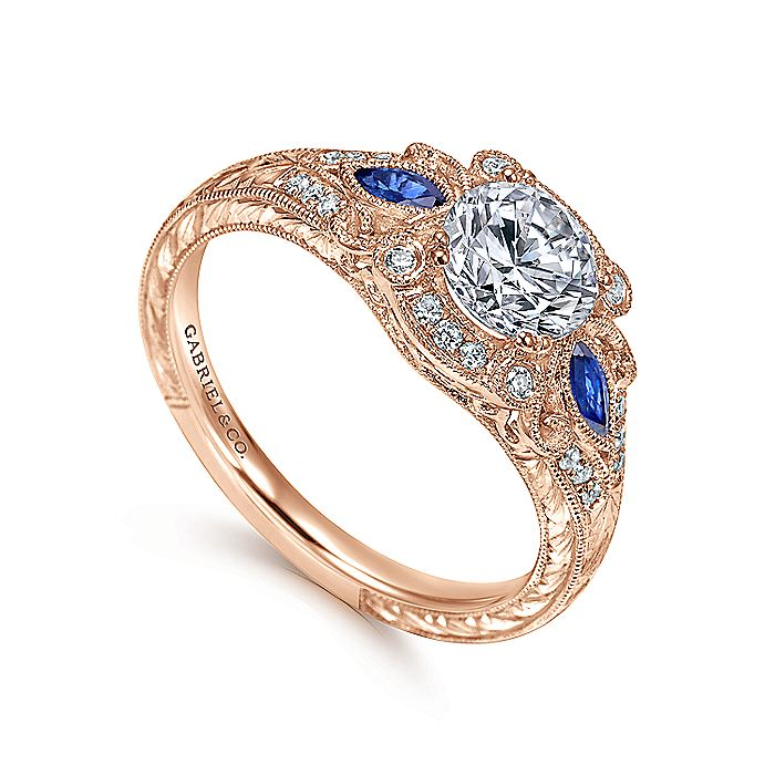 Vintage Inspired 18K Rose Gold Fancy Three Stone Halo Round Sapphire and Diamond Engagement Ring