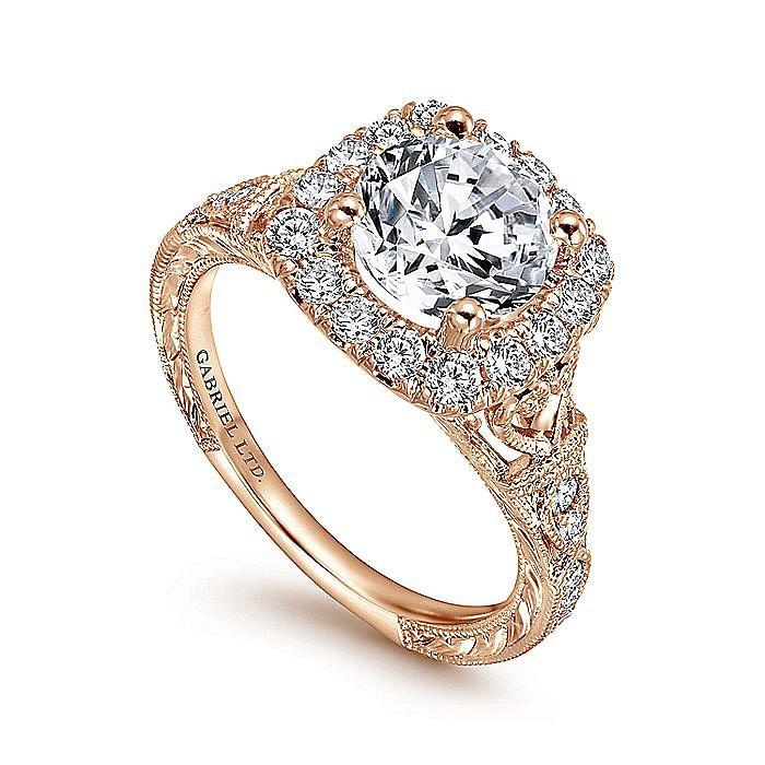 Vintage Inspired 18K Rose Gold Round Halo Diamond Engagement Ring