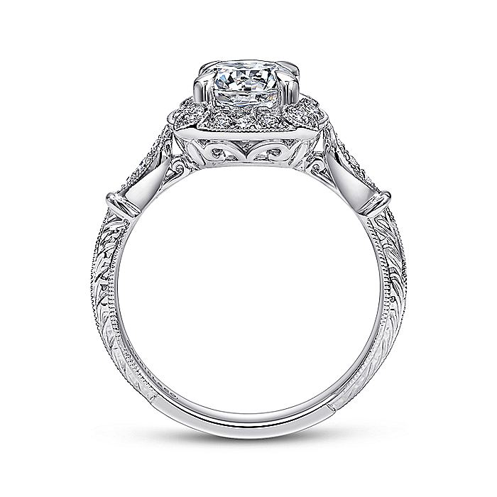 Vintage Inspired 18K White Gold Cushion Halo Round Diamond Engagement Ring
