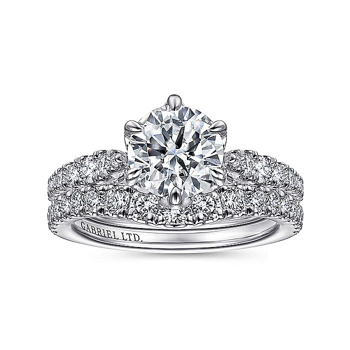 Vintage Inspired 18K White Gold Round Diamond Engagement Ring