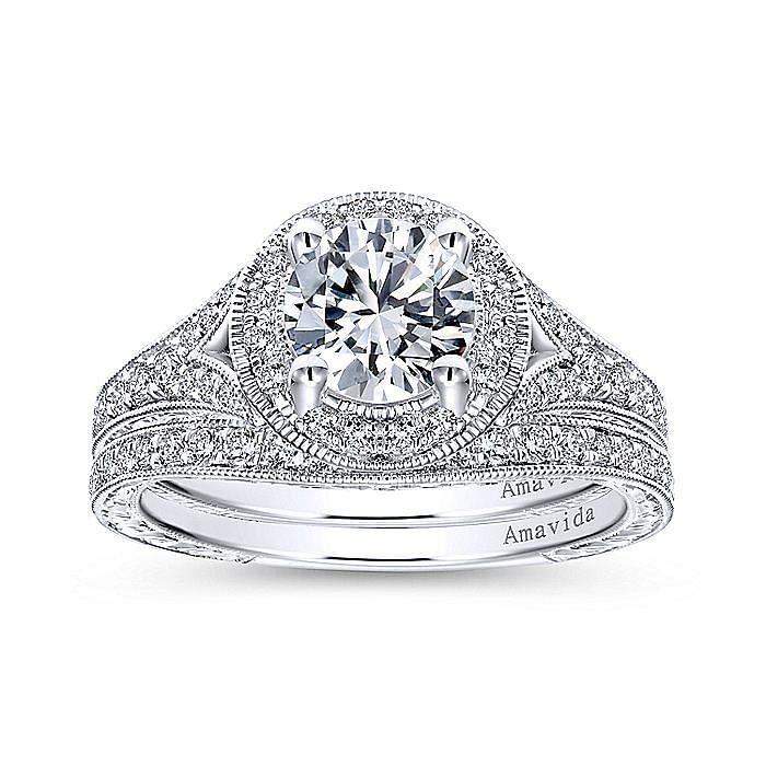 Vintage Inspired 18K White Gold Round Halo Diamond Engagement Ring