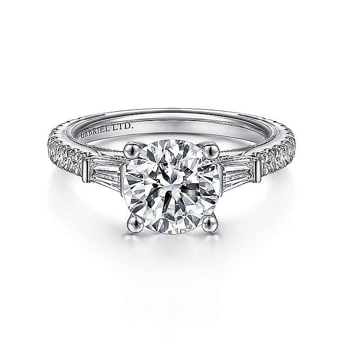 Vintage Inspired 18K White Gold Round Three Stone Diamond Engagement Ring
