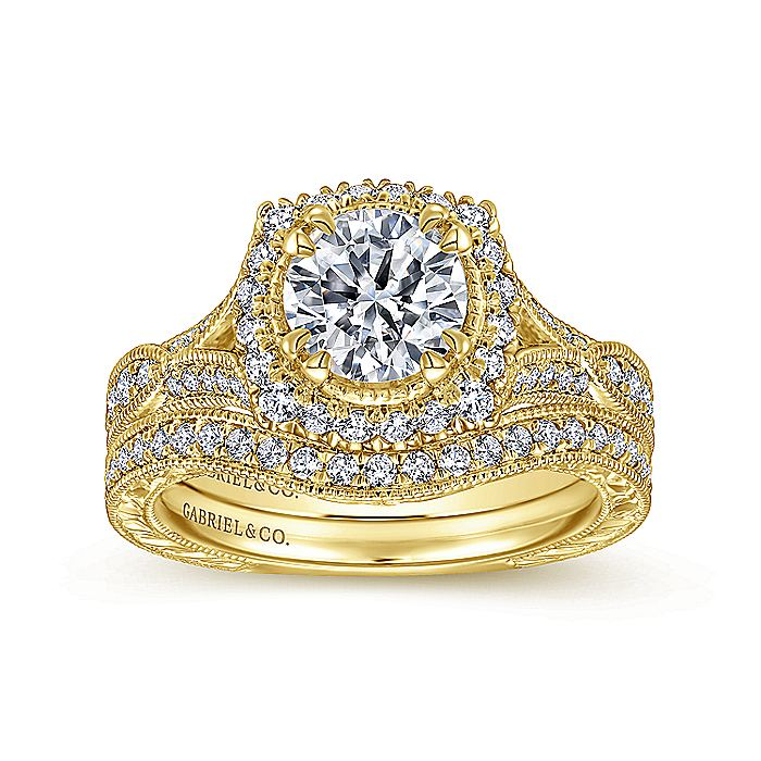 Vintage Inspired 18K Yellow Gold Round Halo Sapphire and Diamond Engagement Ring