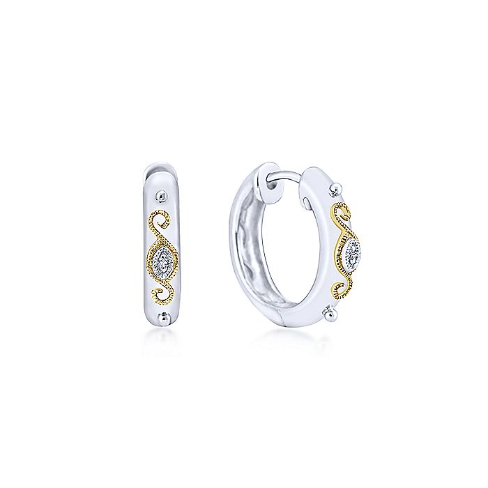Vintage Inspired 925 Sterling Silver-18K Yellow Gold 15mm Huggie Earrings
