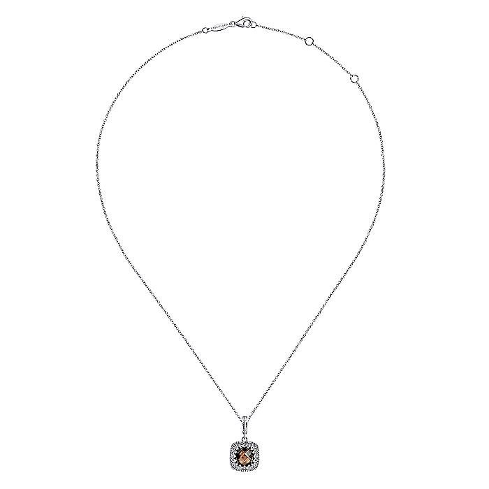 Vintage Inspired 925 Sterling Silver Cushion Cut Smokey Quartz Pendant Necklace