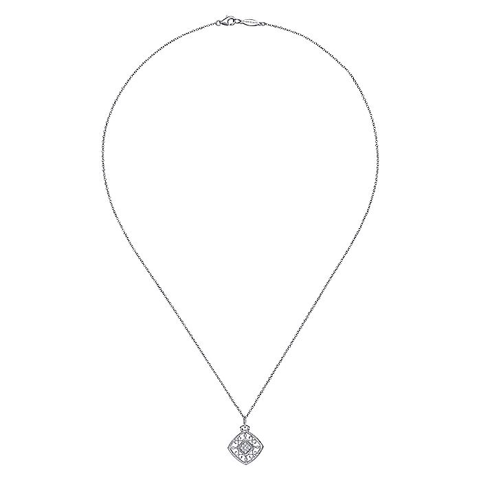 Vintage Inspired 925 Sterling Silver Cushion Shape Diamond Necklace