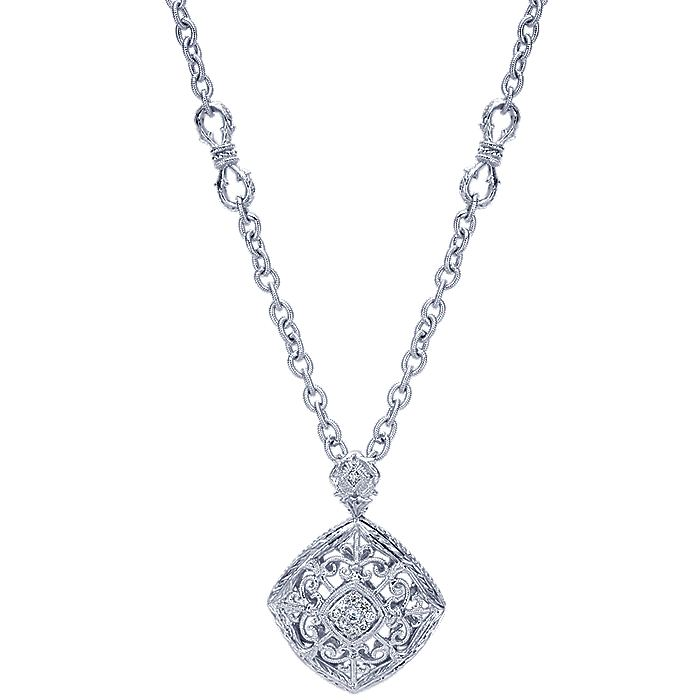 Vintage Inspired 925 Sterling Silver Diamond Pendant Necklace