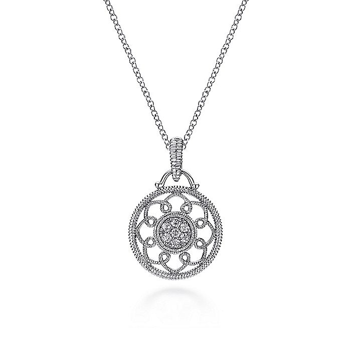Vintage Inspired 925 Sterling Silver Round Diamond Filligree Pendant Necklace