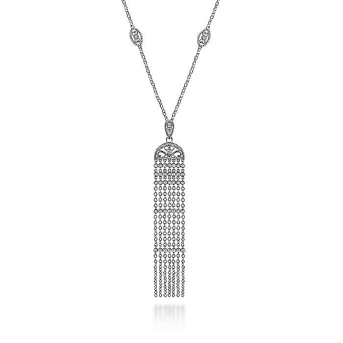 Vintage Inspired 925 Sterling Silver White Sapphire Fringe Pendant Necklace