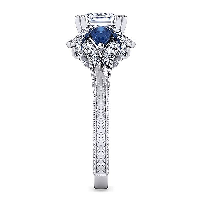 Vintage Inspired Platinum Cushion Cut Sapphire and Diamond Engagement Ring